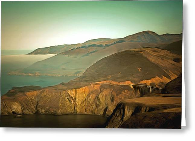 Bixby Bridge Paintings Greeting Cards - Bixby Bridge Digital Greeting Card by Barbara Snyder