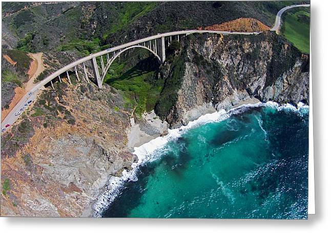 Big Sur Greeting Cards - Bixby Bridge from above Greeting Card by David Levy