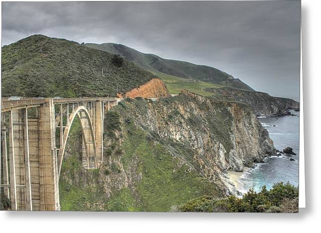 Bixby Bridge Greeting Card by Jane Linders