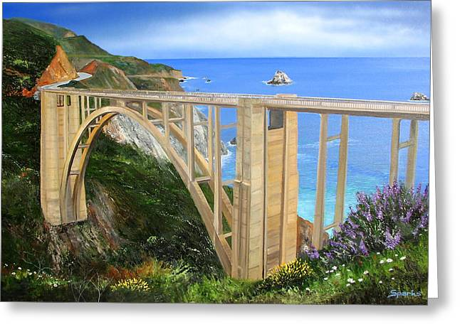 Bixby Bridge Paintings Greeting Cards - Bixby Bridge Greeting Card by John Sparks