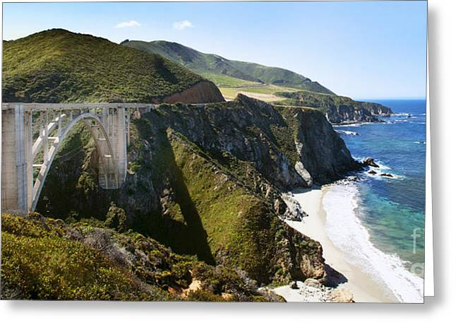Bridge On Highway One Photographs Greeting Cards - Bixby Bridge near Big Sur on Highway One in California Greeting Card by Artist and Photographer Laura Wrede