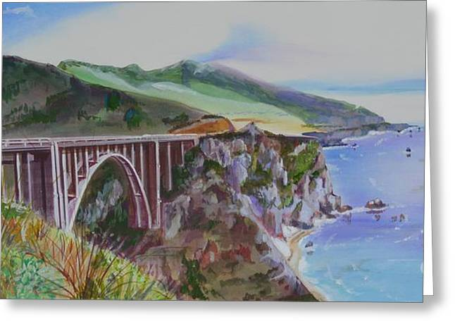 Bixby Bridge Paintings Greeting Cards - Bixby Bridge Santa Cruz Greeting Card by Marco Ippaso