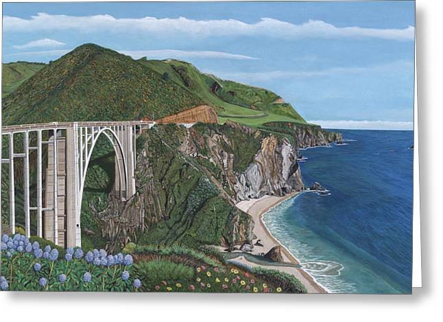 Bixby Bridge Paintings Greeting Cards - Bixby Creek Bridge Big Sur California Greeting Card by Robert Bradshaw