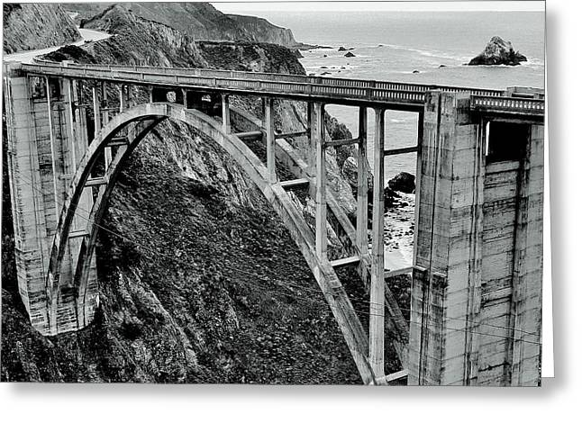 Bixby Creek Bridge Black And White Greeting Card by Benjamin Yeager