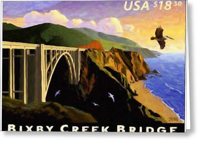 California Ocean Photography Paintings Greeting Cards - Bixby Creek Bridge Greeting Card by Lanjee Chee