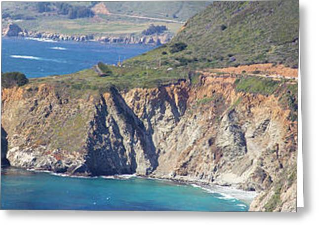 Big Sur California Greeting Cards - Bixby Creek Bridge Panorama 7476 77 78 79   Greeting Card by Jack Schultz
