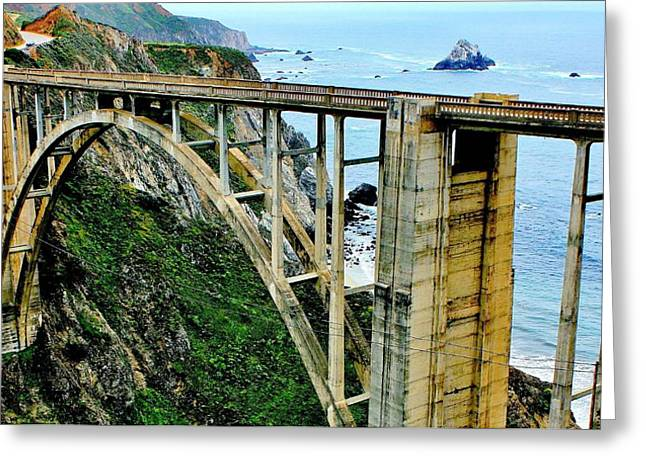 Bixby Creek Bridge Panorama Greeting Card by Benjamin Yeager