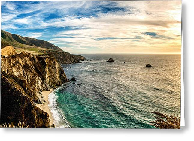 Recently Sold -  - Ocean Art Photography Greeting Cards - Bixby Creek Bridge Panoramic One Greeting Card by Josh Whalen