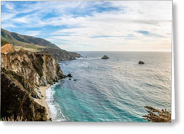 Big Sur Beach Greeting Cards - Bixby Creek Bridge Panoramic Two Greeting Card by Josh Whalen