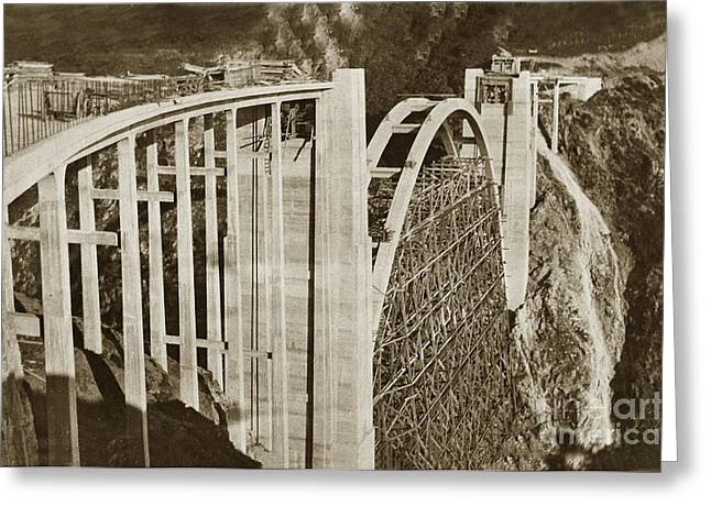 Coast Highway One Greeting Cards - Bixby Creek Bridge under construction Big Sur Coast On Highway One Calif. 1932 Greeting Card by California Views Mr Pat Hathaway Archives