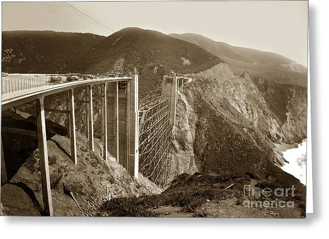 Bixby Bridge Greeting Cards - Bixby Creek Bridge under construction Big Sur Coast  on Highway One Calif. May. 1932 Greeting Card by California Views Mr Pat Hathaway Archives