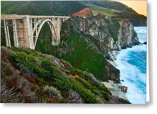 Big Sur Greeting Cards - Bixby Sunrise - View of Big Sur in California during sunrise with Bixby Bridge. Greeting Card by Jamie Pham
