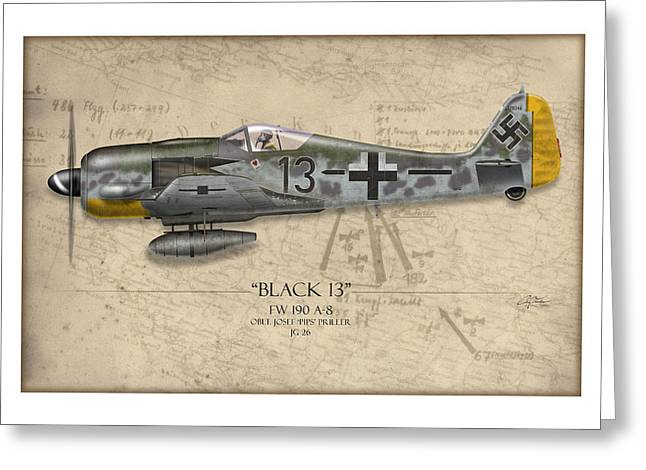 Long Nose Greeting Cards - Black 13 Focke-Wulf FW 190 - Map Background Greeting Card by Craig Tinder