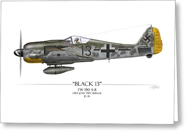 Long Nose Greeting Cards - Black 13 Focke-Wulf FW 190 - White Background Greeting Card by Craig Tinder