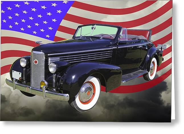 1938 Greeting Cards - Black 1938 Cadillac Lasalle With United States Flag Greeting Card by Keith Webber Jr
