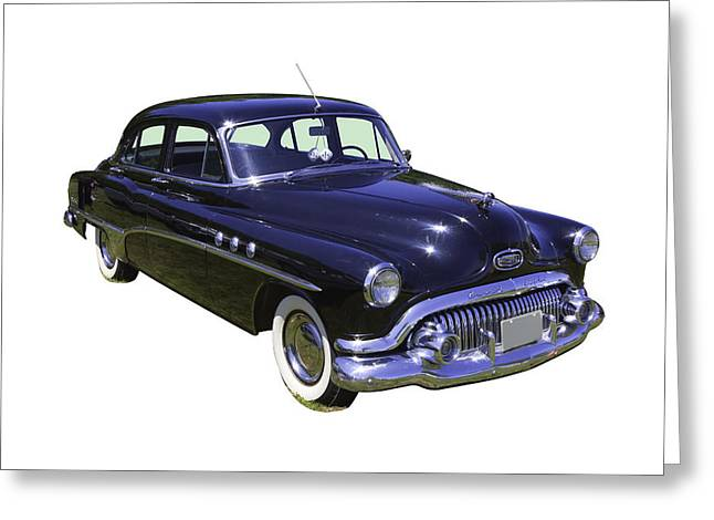 1951 Digital Art Greeting Cards - Black 1951 Buick Eight Antique Car Greeting Card by Keith Webber Jr