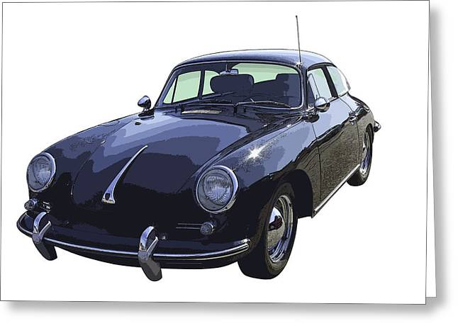 Fast Cars Greeting Cards - Black 1962 Porsche 356 E Sportscar  Greeting Card by Keith Webber Jr