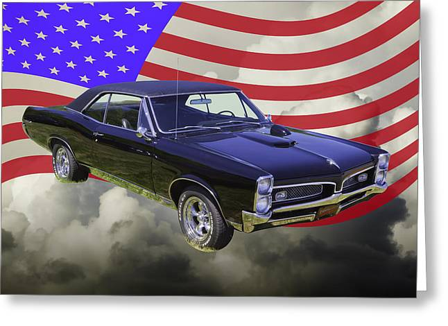 67 Greeting Cards - Black 1967 Pontiac GTO with American Flag Greeting Card by Keith Webber Jr