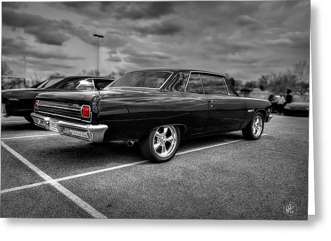 Classic Car Greeting Cards - Black 65 Z16 Chevelle Malibu SS396 Greeting Card by Lance Vaughn