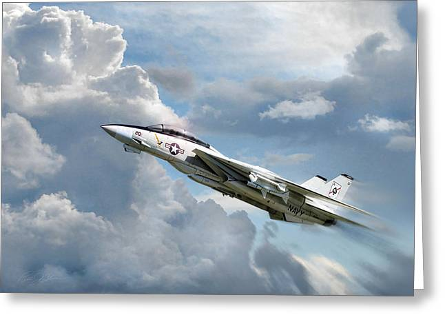 Carrier Digital Art Greeting Cards - Black Aces High Greeting Card by Peter Chilelli
