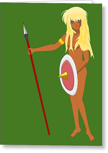 African-americans Greeting Cards - Black Amazon Warrior Greeting Card by John Orsbun