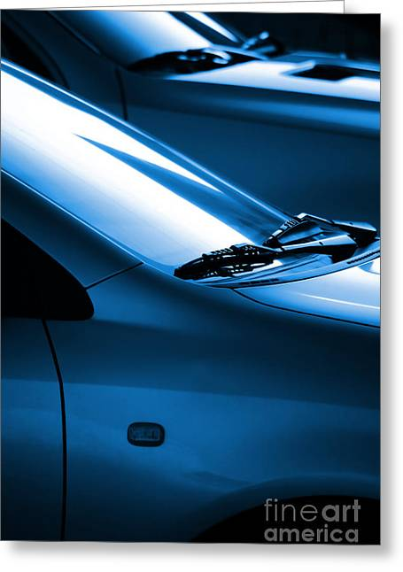 Blue Cars Greeting Cards - Black and Blue Cars Greeting Card by Carlos Caetano