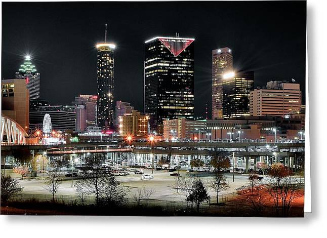 Night Hawk Greeting Cards - Atlanta in Black and Color Greeting Card by Frozen in Time Fine Art Photography