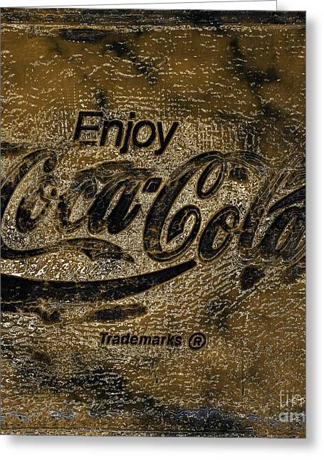 Coca Cola Signs Greeting Cards - Black and Gold Abstract Coca Cola Sign Greeting Card by John Stephens
