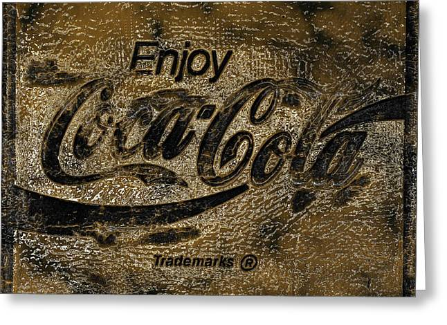Weathered Coca Cola Sign Greeting Cards - Black and Gold Abstract Coca Cola Sign Greeting Card by John Stephens