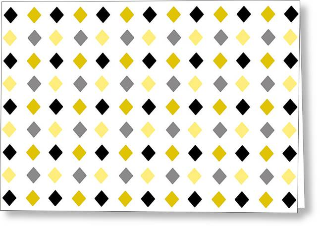 Geometric Shape Mixed Media Greeting Cards - Black and Gold Diamond Pattern Greeting Card by Christina Rollo
