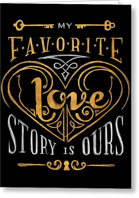Black And Gold Love Story Greeting Card by South Social Studio