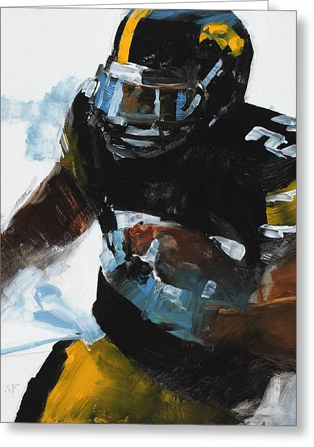 Running Back Paintings Greeting Cards - Black and Gold Greeting Card by Stan Fellows
