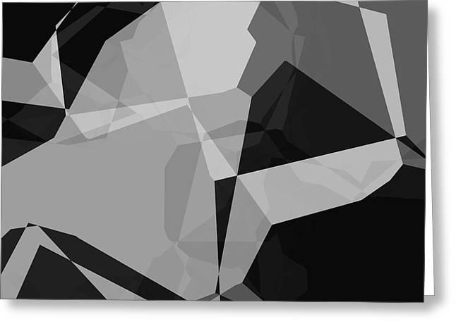 Black And Grey Abstract Greeting Card by David G Paul