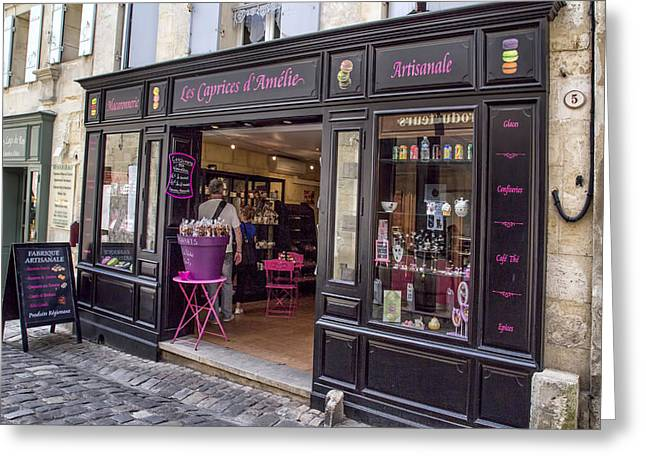 Store Fronts Greeting Cards - Black and Pink Greeting Card by Nomad Art And  Design