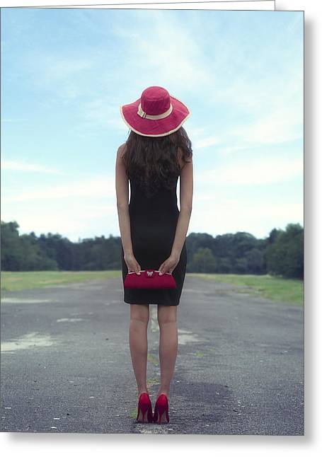 Sun Hat Greeting Cards - Black And Red Greeting Card by Joana Kruse