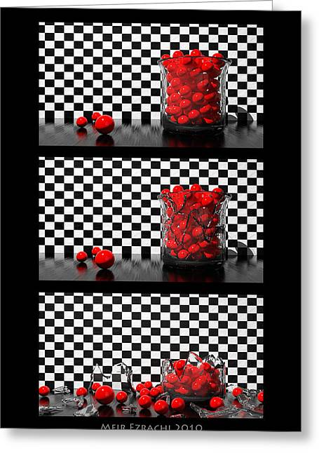 3d Greeting Cards - Black And Red Poster Greeting Card by Meir Ezrachi