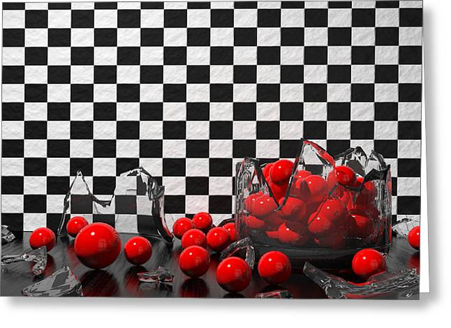 3d Greeting Cards - Black And Red Take Three Greeting Card by Meir Ezrachi