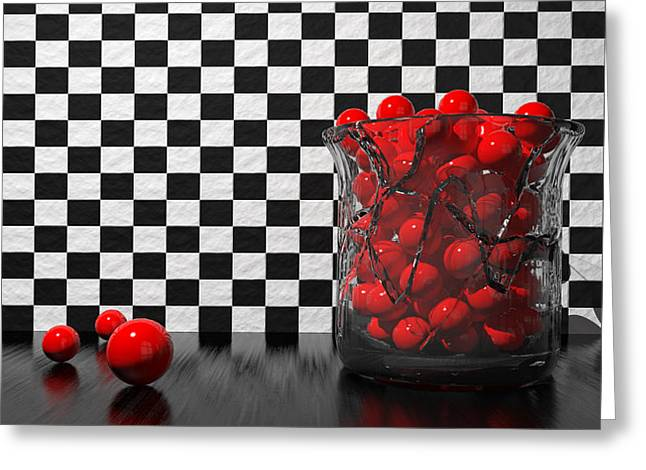 3d Greeting Cards - Black And Red Take Two Greeting Card by Meir Ezrachi