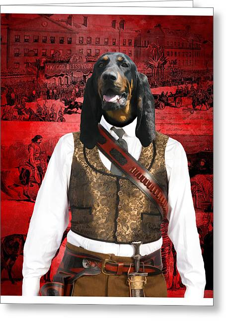 Black And Tan Greeting Cards - Black and Tan Coonhound Art Canvas Print Greeting Card by Sandra Sij