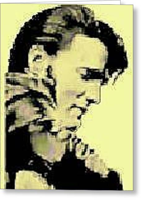 Woodburn Pyrography Greeting Cards - Black and Tan Elvis Greeting Card by Timothy Wilkerson