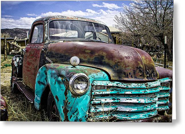 Turquoise And Rust Greeting Cards - Black and Turquoise Chevy Truck Greeting Card by Steven Bateson