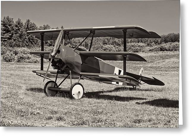 Airfield Greeting Cards - Black and White 1917 Fokker Dr.1 Triplane Red Barron Greeting Card by Keith Webber Jr