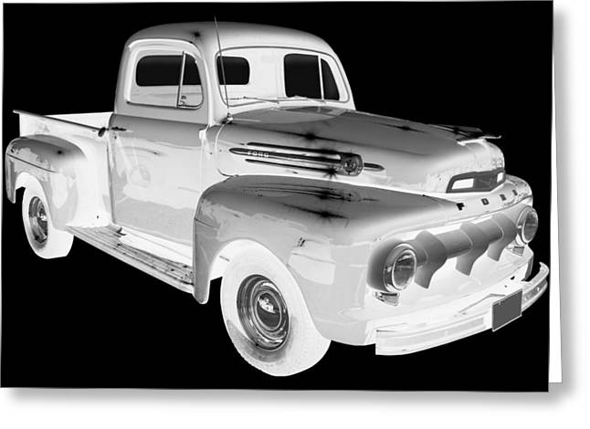 Pick-ups Greeting Cards - Black And White 1951 Ford F-1 Pickup Truck  Greeting Card by Keith Webber Jr