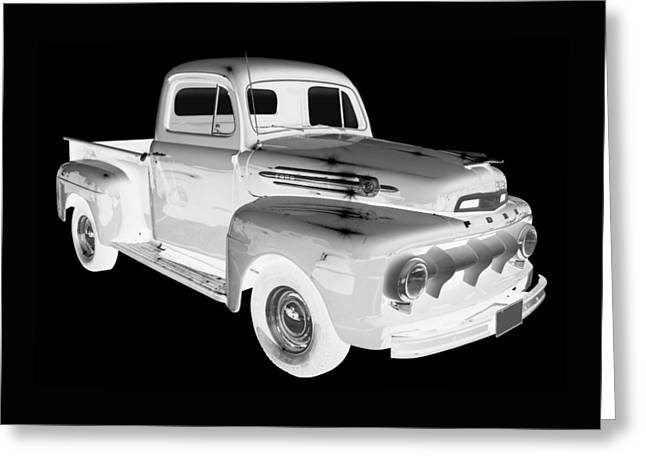 Old Trucks Greeting Cards - Black And White 1951 Ford F-1 Pickup Truck  Greeting Card by Keith Webber Jr