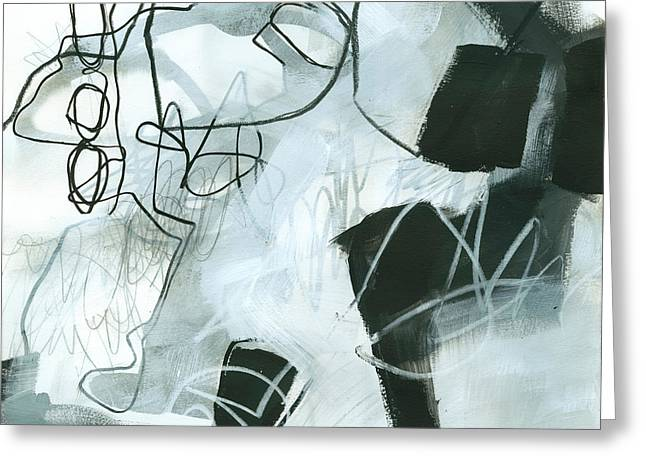Patterned Paintings Greeting Cards - Black and White #3 Greeting Card by Jane Davies