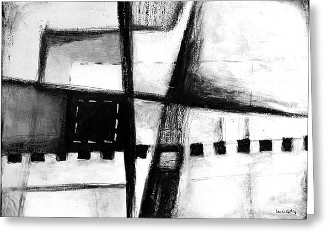 Black And White Abstract Contemporary Minimal Art By Laura Gomez -horizontal Format Greeting Card by Laura  Gomez