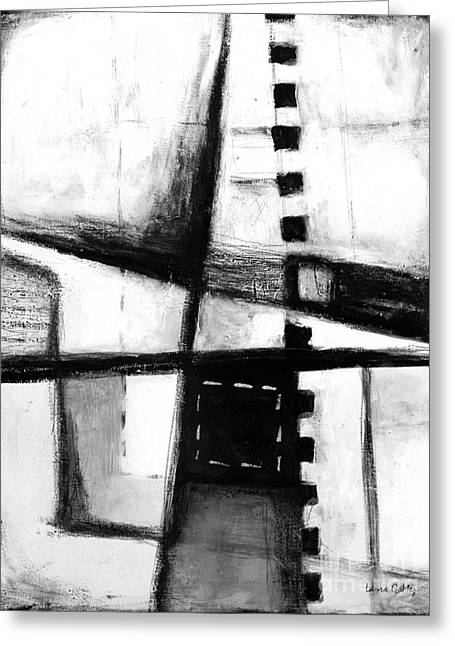 Negro Mixed Media Greeting Cards - Black and White Abstract Contemporary Minimal Art by Laura Gomez Greeting Card by Laura  Gomez