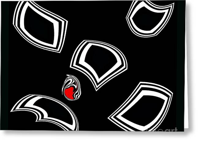 Introversion Greeting Cards - Black and White and Red Minimalist Abstract Art No.55. Greeting Card by Drinka Mercep