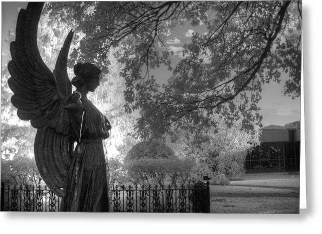 Infared Photography Greeting Cards - Black and White Angel Greeting Card by Jane Linders