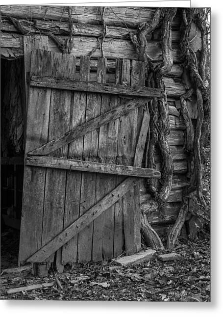 Western Ky Greeting Cards - Black and White Barn Door Greeting Card by Amber Kresge